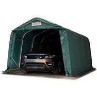 Tente-garage carport 3,3 x 4,8m d'élevage abri agricole tente de stockage bâche env. 550g/m² armature solide vert foncé sol dur, béton - INTENT24.FR