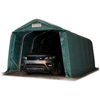 Tente-garage carport 3,3 x 6,0m d'élevage abri agricole tente de stockage bâche env. 550g/m² armature solide vert foncé sol dur, béton - INTENT24.FR