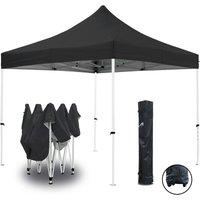 Tente pliante noire 3x3m ECO Tube 25mm en acier Bâche 220g/m² ENDUIT PVC 100% ÉTANCHE Pavillon jardin Tonnelle réception, Sac de transport - GREADEN