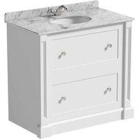 The Bath Co. Burghley matt white floorstanding vanity unit and white marble basin 900mm