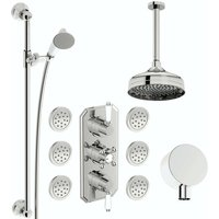 . Camberley concealed thermostatic mixer shower with ceiling arm, slider rail and body jets - The Bath Co