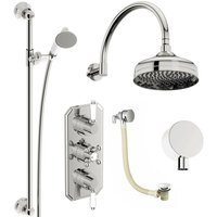 . Camberley concealed thermostatic mixer shower with wall arm, slider rail and bath filler - The Bath Co