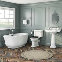 . Camberley freestanding bath suite with black seat - The Bath Co