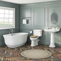 . Camberley freestanding bath suite with oak effect seat - The Bath Co