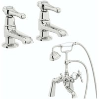 . Camberley lever basin pillar and bath shower mixer tap pack - The Bath Co