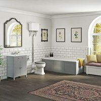 . Camberley satin grey furniture suite with straight bath 1700 x 700 - The Bath Co