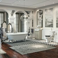 Orchard Dulwich complete freestanding bath and ivory furniture suite with black seat