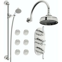 Orchard Dulwich concealed thermostatic mixer shower with wall arm, slider rail and body jets