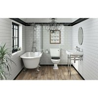 Dulwich freestanding shower bath suite with black seat - Orchard