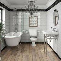 Orchard Dulwich freestanding shower bath suite with grey seat