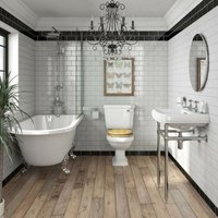 Orchard Dulwich freestanding shower bath suite with MDF seat