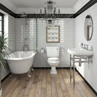 Orchard Dulwich freestanding shower bath suite with white seat