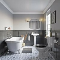 Dulwich roll top bath suite with grey seat 1750 x 800 - Orchard