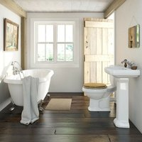 Dulwich roll top bath suite with solid wood oak seat and taps - Orchard