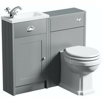 Orchard Dulwich stone grey cloakroom combination with white wooden seat