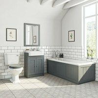 Dulwich stone grey furniture suite with straight bath 1700 x 700mm - Orchard