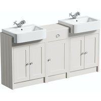 Dulwich stone ivory floorstanding double vanity unit and basin with storage combination - Orchard