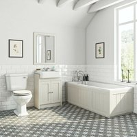 Dulwich stone ivory furniture suite with straight bath 1700 x 700mm - Orchard