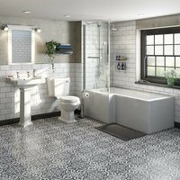 Orchard Winchester bathroom suite with left handed L shaped shower bath and taps 1700 x 850