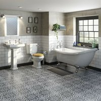 Orchard Winchester bathroom suite with roll top bath, taps and solid wood oak seat