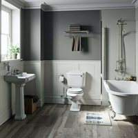 Winchester freestanding shower bath suite with white seat - Orchard