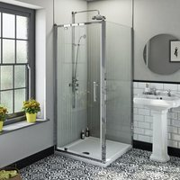 Winchester traditional 6mm square pivot shower enclosure 800 x 800 with dual valve riser shower system - Orchard