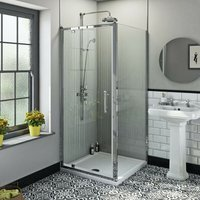Winchester traditional 6mm square pivot shower enclosure 900 x 900 with dual valve riser shower system - Orchard