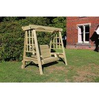The Cottage Wooden Garden Swing - Sits 2, wooden garden swinging seat hammock - CHURNET VALLEY