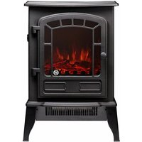 The Ripon 1and2KW Freestanding Black Electric Stove with Realistic LED Flame Effect and Log Fuel Bed - ADAM FIRES