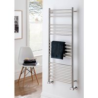 The Radiator Company Iris Polished Stainless Steel Vertical Designer Heated Towel Rail 1200mm x 500mm