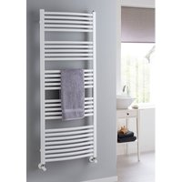 The Radiator Company Poppy Steel Vertical Designer Heated Towel Rail 718mm x 398mm White