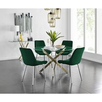 Furniturebox Uk - Novara 120cm Gold Round Dining Table and 4 Green Pesaro Silver Leg Chairs