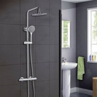 Thermostatic Exposed Shower Mixer Bathroom Twin Head Large Round Bar Set Chrome - Aica