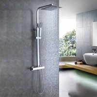 Thermostatic Exposed Shower Mixer Bathroom Twin Head Large Square Bar Set Chrome - Aica