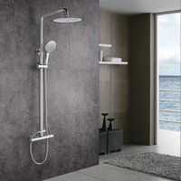 Thermostatic Cool Touch Exposed Shower Mixer Bathroom Twin Head Large Round Bar Set Chrome - Aica