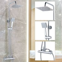 Square Thermostatic Mixer Shower Set - Dual Control Twin Head Ultra Thin Chrome - BuyaParcel