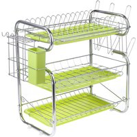 Three Layer Dish Drainer Cup Drying Rack Drying Rack Utensil Basket Sink Organizer Chrome Tray Home Kitchen (Green, 3 Tier (Water Cup Style))