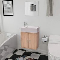 Three Piece Bathroom Furniture and Basin Set Beige - YOUTHUP