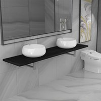 Three Piece Bathroom Furniture Set Ceramic Black - YOUTHUP