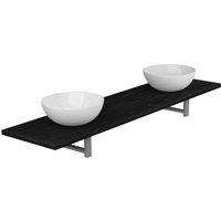 Three Piece Bathroom Furniture Set Ceramic Black - VIDAXL