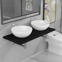 Betterlifegb - Three Piece Bathroom Furniture Set Ceramic Black14651-Serial number