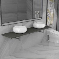 Three Piece Bathroom Furniture Set Ceramic Grey - Grey