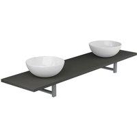 Three Piece Bathroom Furniture Set Ceramic Grey - VIDAXL