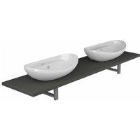 Three Piece Bathroom Furniture Set Ceramic Grey - Grey - Vidaxl