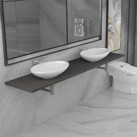 Betterlifegb - Three Piece Bathroom Furniture Set Ceramic Grey14664-Serial number