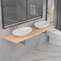 Zqyrlar - Three Piece Bathroom Furniture Set Ceramic Oak - Brown