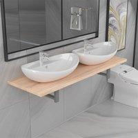 Three Piece Bathroom Furniture Set Ceramic Oak - Brown