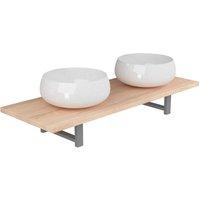 Three Piece Bathroom Furniture Set Ceramic Oak - Brown - Vidaxl