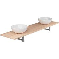 Three Piece Bathroom Furniture Set Ceramic Oak - VIDAXL