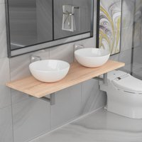 Three Piece Bathroom Furniture Set Ceramic Oak14661-Serial number